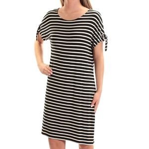 Calvin Klein Short-Sleeve Stripe Dress with Ties